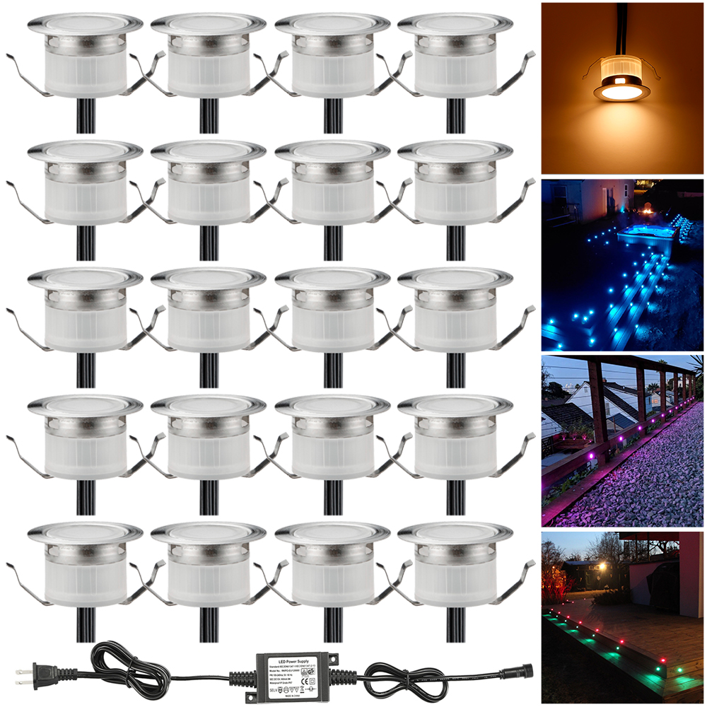 20pcs/lot 31mm LED Decking Stair Step Light Garden Yard Patio Terrace Waterproof Lanscape Inground Paver Lighting Spot 12V IP67