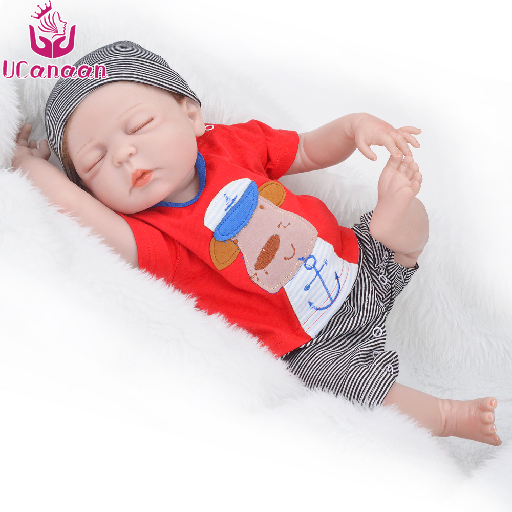 UCanaan 50-55CM Silicone Reborn Baby Doll Closed Eyes Babies Toys Lifelike Soft Full Vinyl Body Baby Fashion Newborn Dolls ucanaan 55cm soft silicone doll reborn