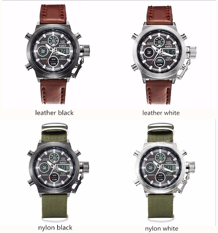 AMST Military Watches Dive 50M Nylon&Leather Strap LED Watches Men Top Brand Luxury Quartz Watch reloj hombre Relogio Masculino 9