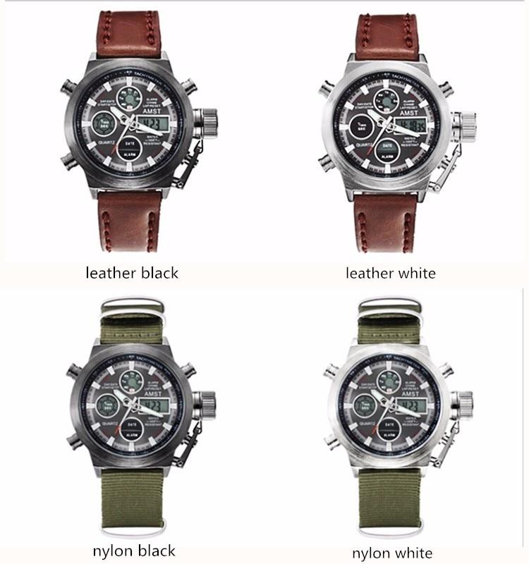 AMST Military Watches Dive 50M Nylon&Leather Strap LED Watches Men Top Brand Luxury Quartz Watch reloj hombre Relogio Masculino 9