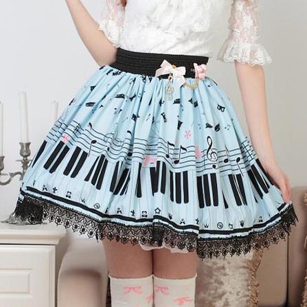 Aliexpress.com : Buy Piano keyboard printed skirts Women sky blue ...