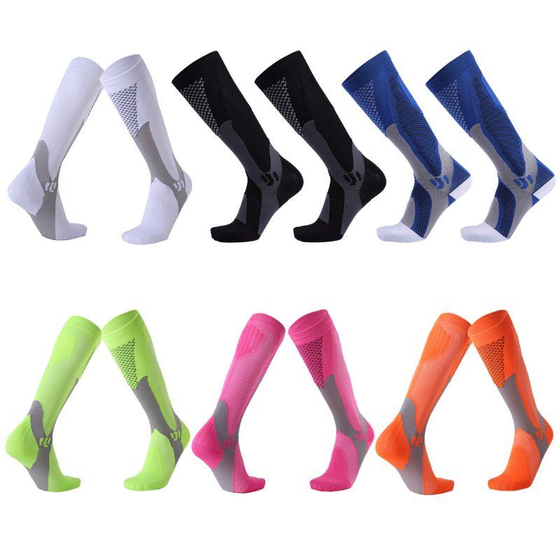 Men Women Unisex Leg Support Stretch Outdoor Sport Knee High Long Compression Socks Running Soccer Cycling Polyester Hosiery