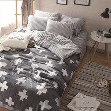 Marca de moda juego de cama de cama doble 4 unids juegos de sábanas 100% Algodón funda nórdica de lino conjunto