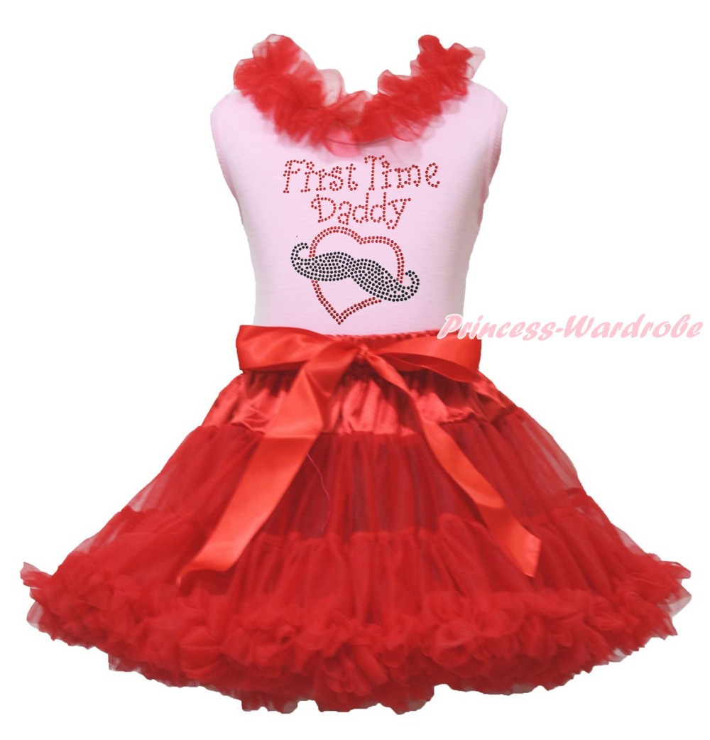 Valentine First Time Daddy Mustache Heart Pink Top Red Girls Skirt Outfit 1-8Y 8x10ft valentine s day photography pink love heart shape adult portrait backdrop d 7324
