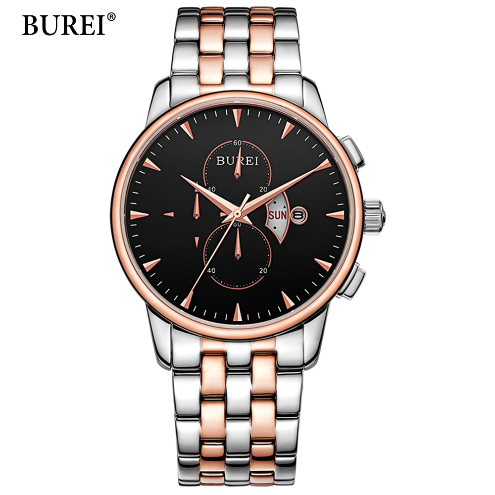 BUREI Men Watches Top Brand Luxury Black Rose gold Dial Date Clock Male Steel Strap Casual Quartz Watch Men Sports Wrist Watch 2017 luxury brand binger date genuine steel strap waterproof casual quartz watches men sports wrist watch male luminous clock