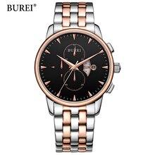 BUREI Men Watches Top Brand Luxury Black Rose gold Dial Date Clock Male Steel Strap Casual Quartz Watch Men Sports Wrist Watch