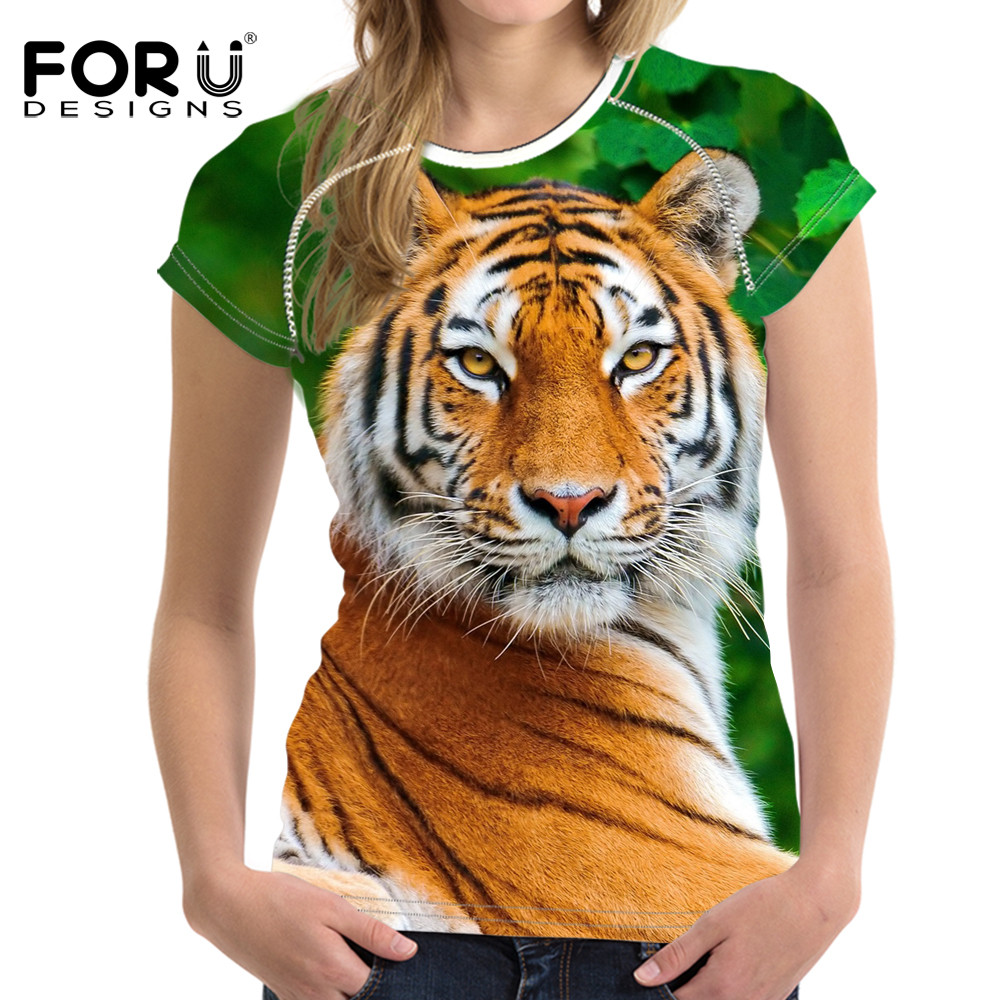 FORUDESIGNS 3D White Tiger Women T-shirt Crop Top For Women T-shirt - Կանացի հագուստ - Լուսանկար 5