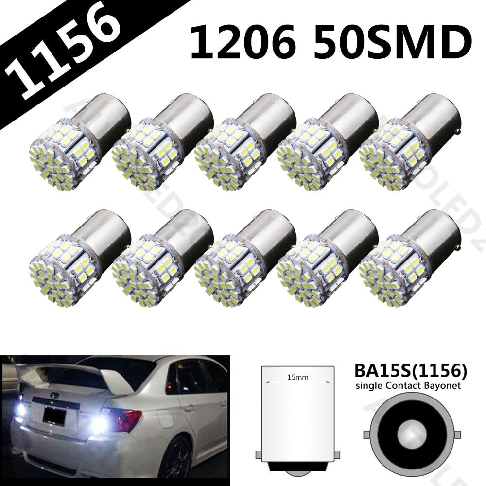 цена на 10 pcs Super Bright BA15S 1156 P21W 50SMD 1206 12V 3020 50 Led SMD Car Brake Light Turn Signals Rear Parking Reverse Lamps