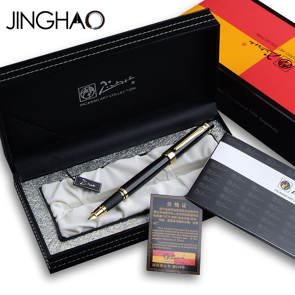 Jinghao Pimio 917 Hot-selling Metal Fountain Pen Smooth Black and Gold Clip Inking Pens with Original Gift Case 0.5mm F Nib italic nib art fountain pen arabic calligraphy black pen line width 1 1mm to 3 0mm