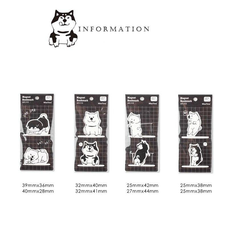 Купить с кэшбэком 4 pcs Cartoon Shiba inu dog magnetic bookmarks for book Magnet paper clip Stationery Office accessories School supplies A6166