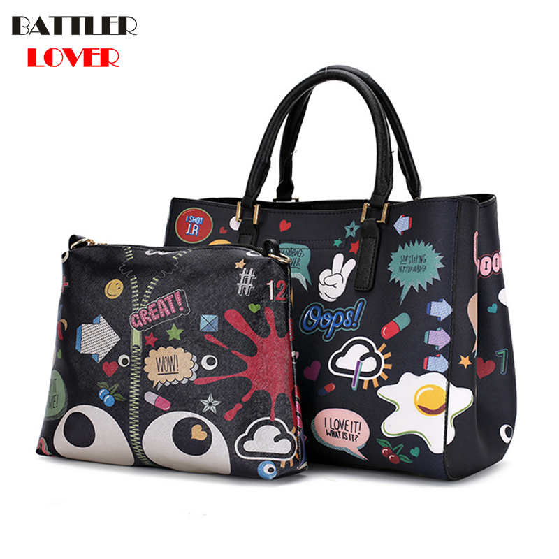 Handbag Women Bag Designer Graffiti Printed Large Tote Shoulder Composite Bag 2PCS Cartoon Big Eye Mujer Crossbody Messenger BagHandbag Women Bag Designer Graffiti Printed Large Tote Shoulder Composite Bag 2PCS Cartoon Big Eye Mujer Crossbody Messenger Bag