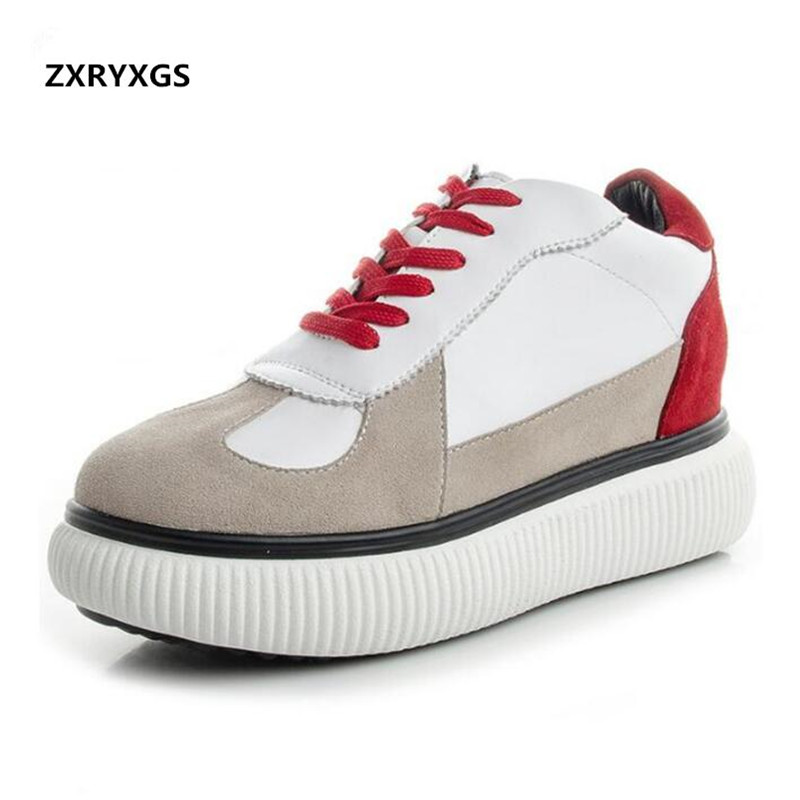 2019 New spell color Splice women Sneakers casual shoes Korean Platform Shoes genuine Leather Shoes Casual