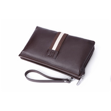New Men Genuine Leather Zipper Wallet Long Change Purse Cowhide Clutch Bag