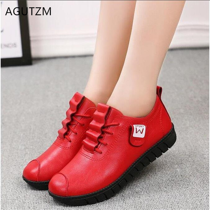 AGUTZM Fashion Women Shoes 2019 New Arrival Spring Autumn Lace-up Flats Shoes Comfortable Wild Woman Casual Shoes Mujer Y28