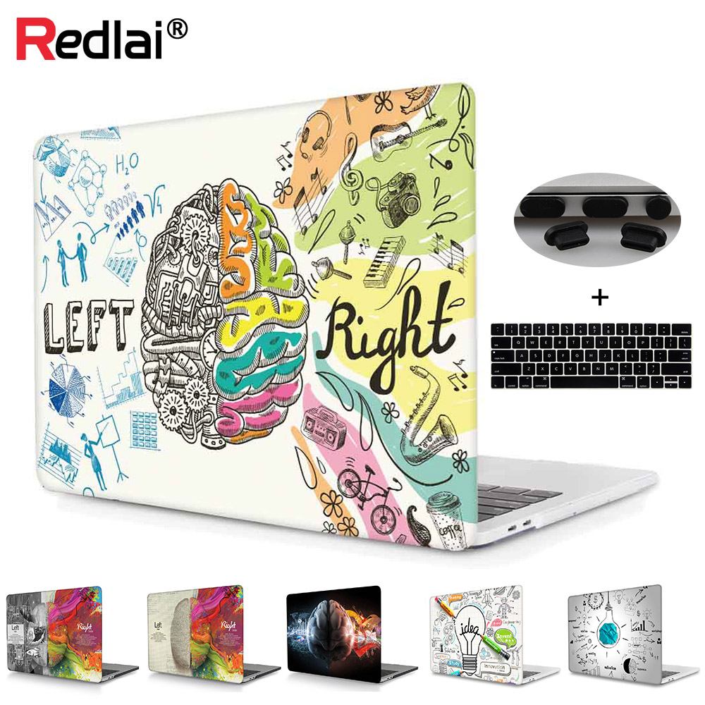 Voor Macbook 12 Air 13 A1932 A1466 Pro Retina 13 15 Behuizing Uniek Links en Rechts Brain Plastic Hard Case Pro 13 15 Touchbalk 2018