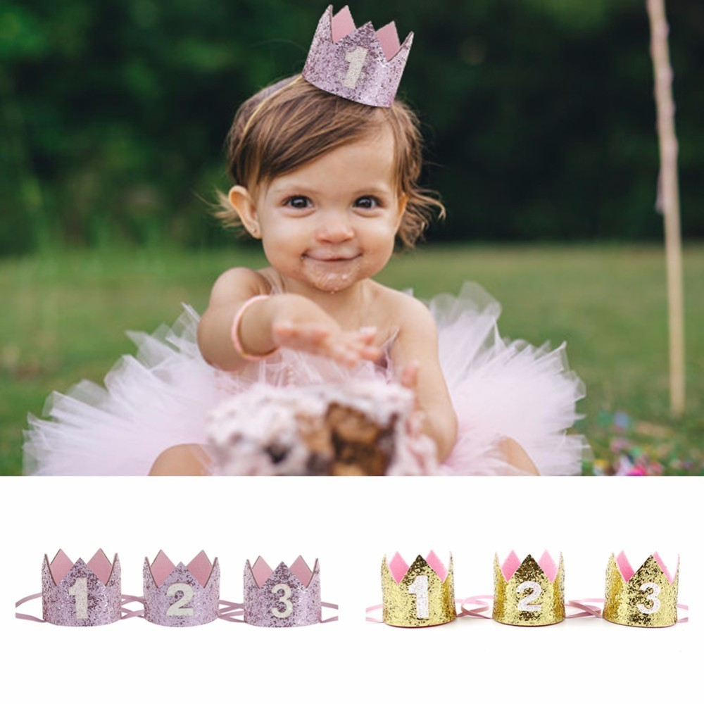 Boy Silver First Birthday Party Hat Girl Gold Pink Princess Crown Number 1 2 3 Year Old Glitter Cartoon