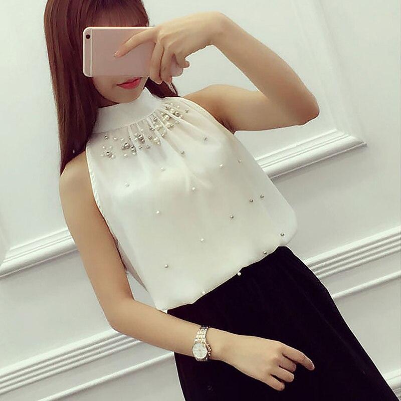 Summer Blouses Shirts Top Women Chiffon Blouse Bead Korean Sleeveless Halter Turtleneck Temperament Office Lady Elegant Shirt 4