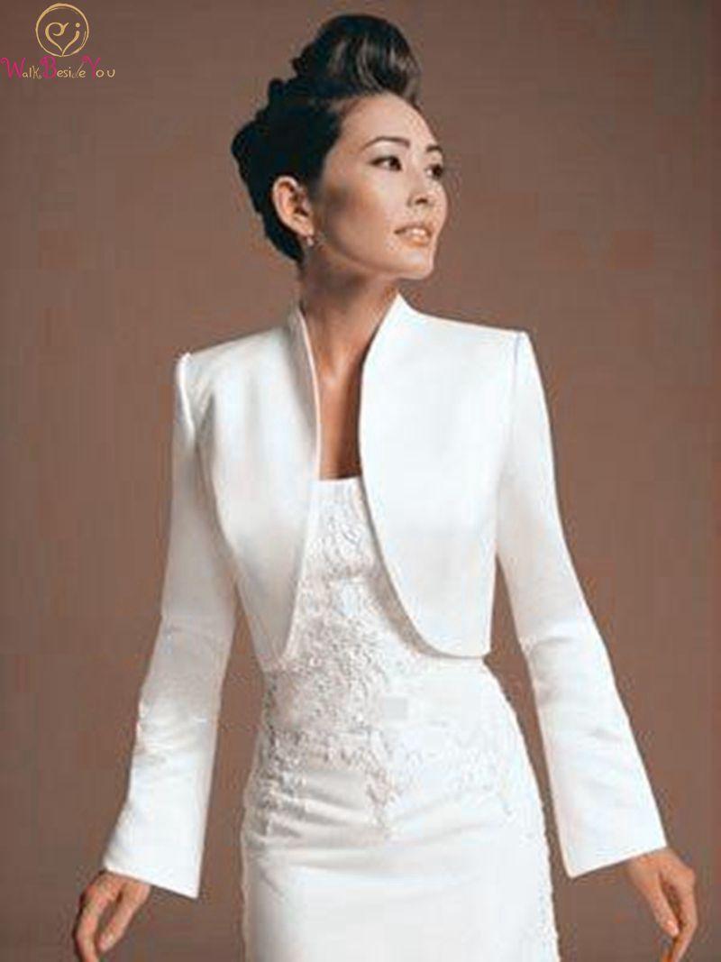 Women Bolero Long Sleeve Jackets Elegant Summer Bridal Wraps Satin Evening Party Wedding Cape Plus Size 2019 Formal Cloak Capas