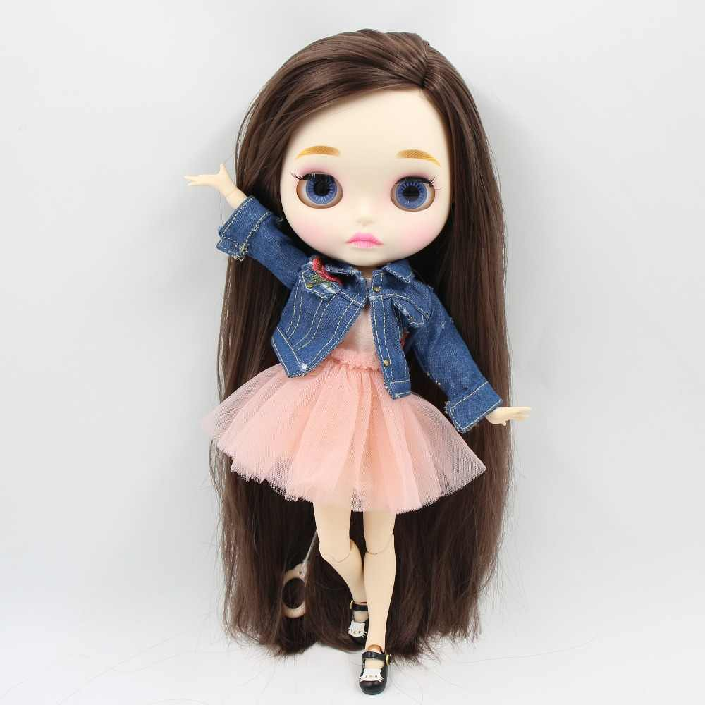 ICY factory шарнирная кукла blyth toy темно-белая кожа длинные прямые темно-каштановые волосы сторона пробор сустава тела 30 см 1/6 BL0222