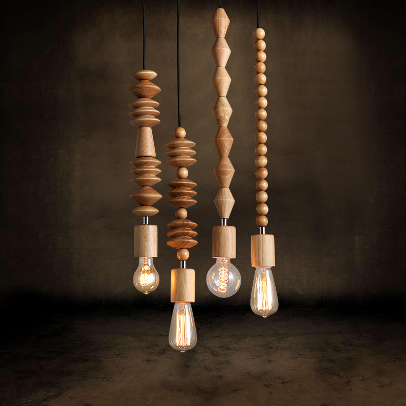 ФОТО NEW Woody strip fashion wood Cafe clothing store lighting retro creative personality decorative Bar Cafe Pendant Lights