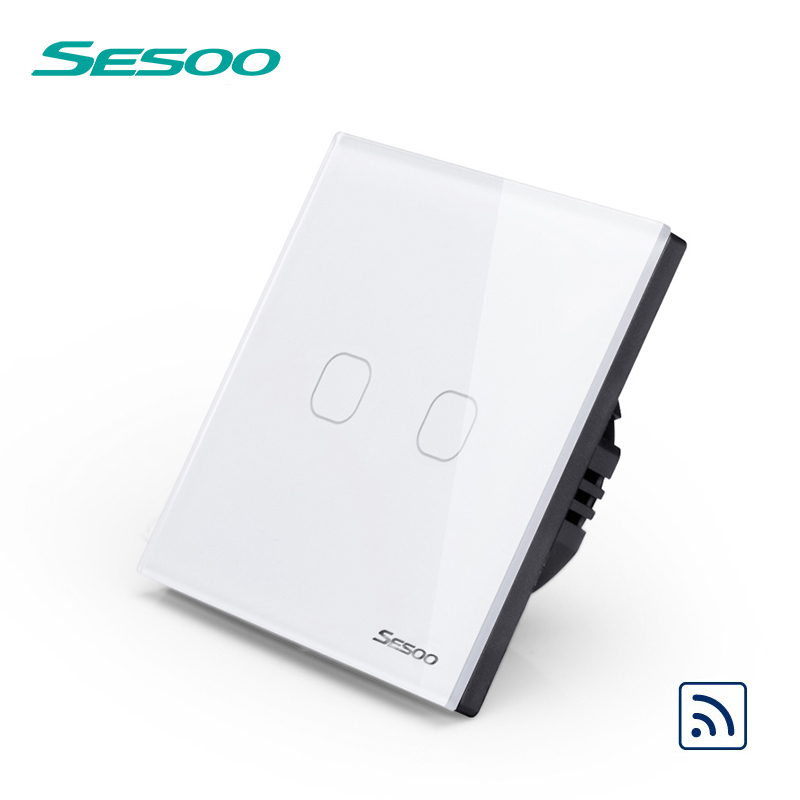 SESOO Remote Control Switches 2 Gang 1 Way,White,Crystal Glass Switch Panel,Remote Wall Touch Switch+LED Indicator remote control wall switch eu standard touch black crystal glass panel 3 gang 1 way with led indicator switches electrical
