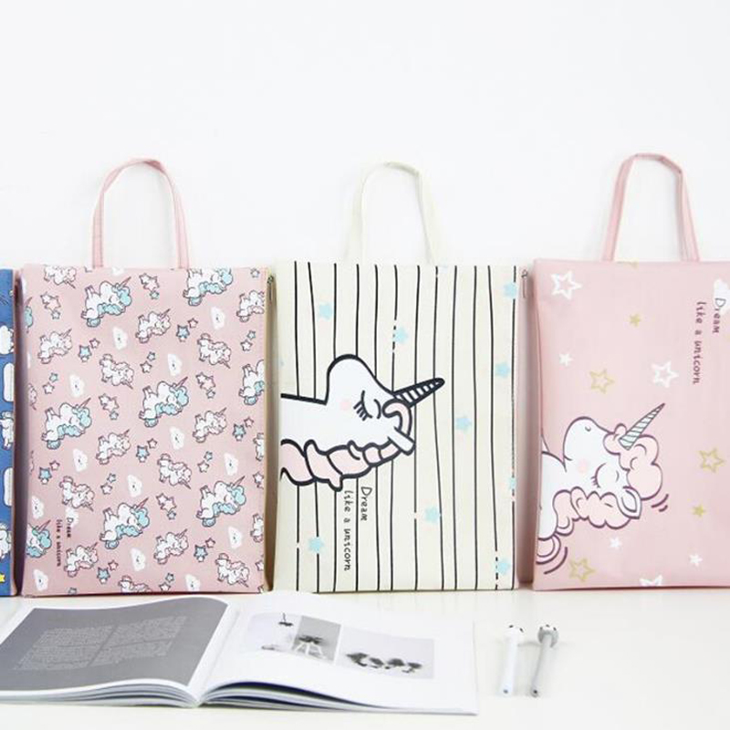 1Pc  Cartoon Unicorn Oxford Portable File Pocket A4 Large Capacity Pencil Bag Stationery Storage Organizer Case School Supply