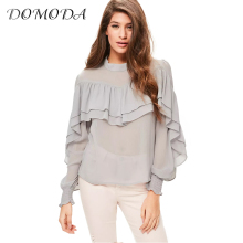 DOMODA 2017 Sweet Ruffles Women Blouse Lantern Sleeve Button Pleated Top Shirt Elegant Sheer Chiffon Blouse Female