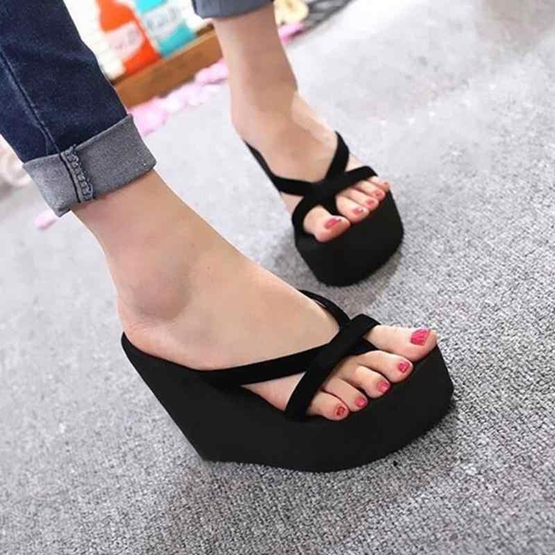 3e3c93629fb Bohemian Women Casual Sandals Flip Flops Ladies Wedges Shoes High Platform  Slides Women Beach Sandals Flip