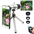 Camera Phone Lentes Kit 12x Zoom Telescope Telephoto Lens+Tripod+Macro Wide Angle Fisheye Lenses For iPhone 6 6s 7 Plus Samsung