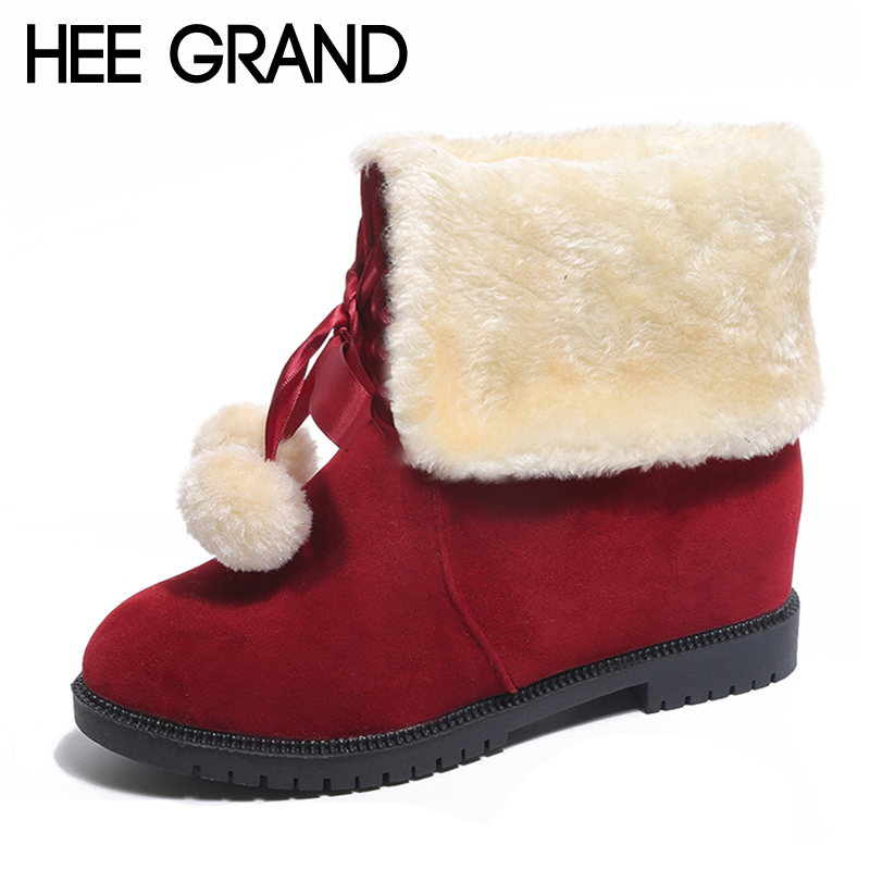 HEE GRAND Faux Fur Women Snow Boots Sweet Lace Up Ankle Boots Winter Warm Pom Poms Shoes Women Suede Girls Snow Boots XWX6275 trendy color block and faux fur design women s snow boots