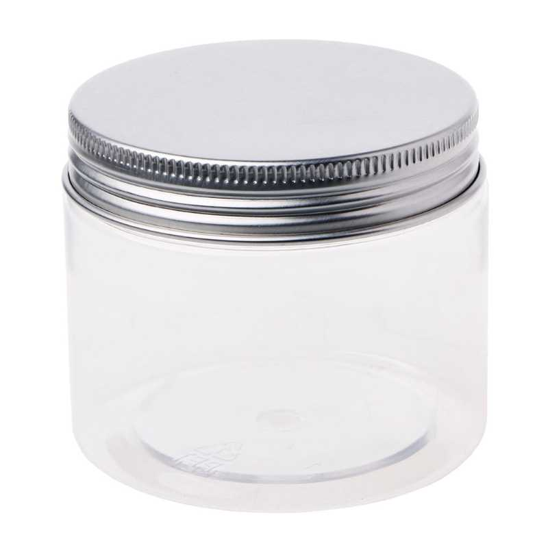 150ml Clear Round PET Jar With Aluminium Screw Lid Food Stage Container Sealed