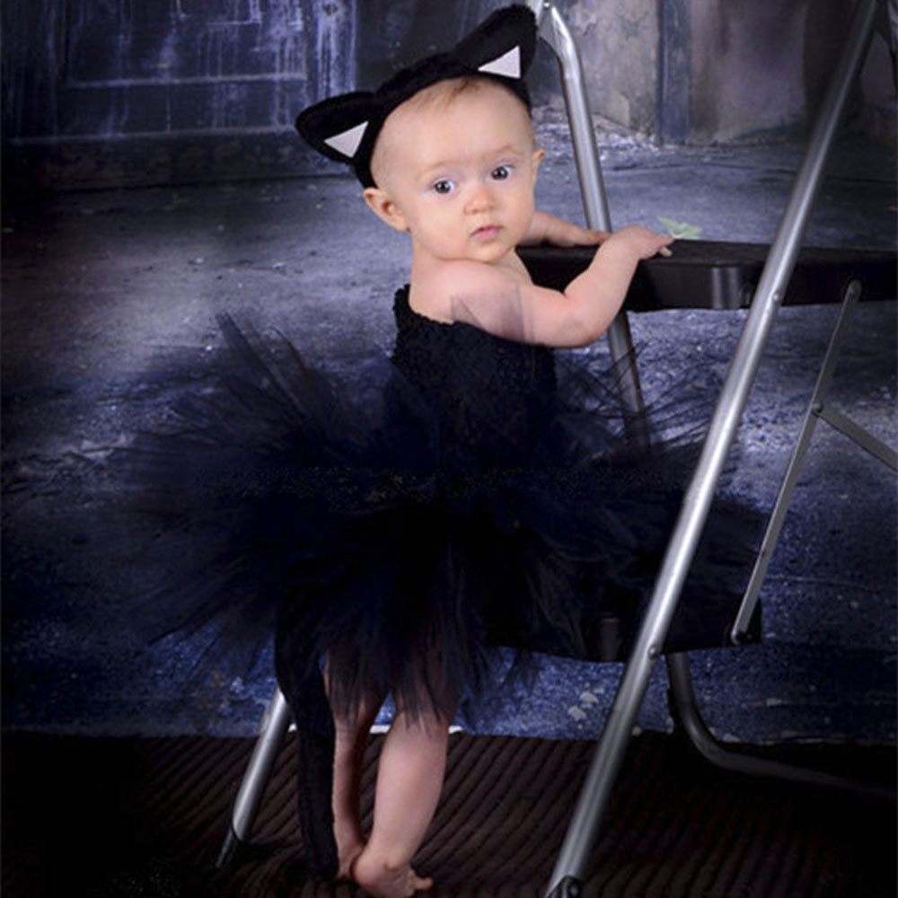 7f16d80d51 Girls Black Tutu Dress Kids Fluffy Tulle Ballet Tutus with Hairbow Children  Halloween Party Dress Cat Cosplay Costume Dresses-in Dresses from Mother    Kids ...