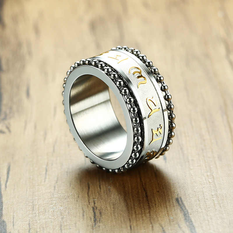 Vnox Новое вращающееся кольцо с мантрой для мужчин 11 мм нержавеющая сталь молитва религиозный мужской Спиннер Anel ювелирные изделия размер США