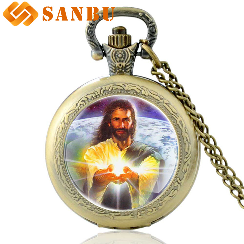 Antique Bronze Jesus Quartz Pocket Watch Vintage Men Women Necklace Jewelry