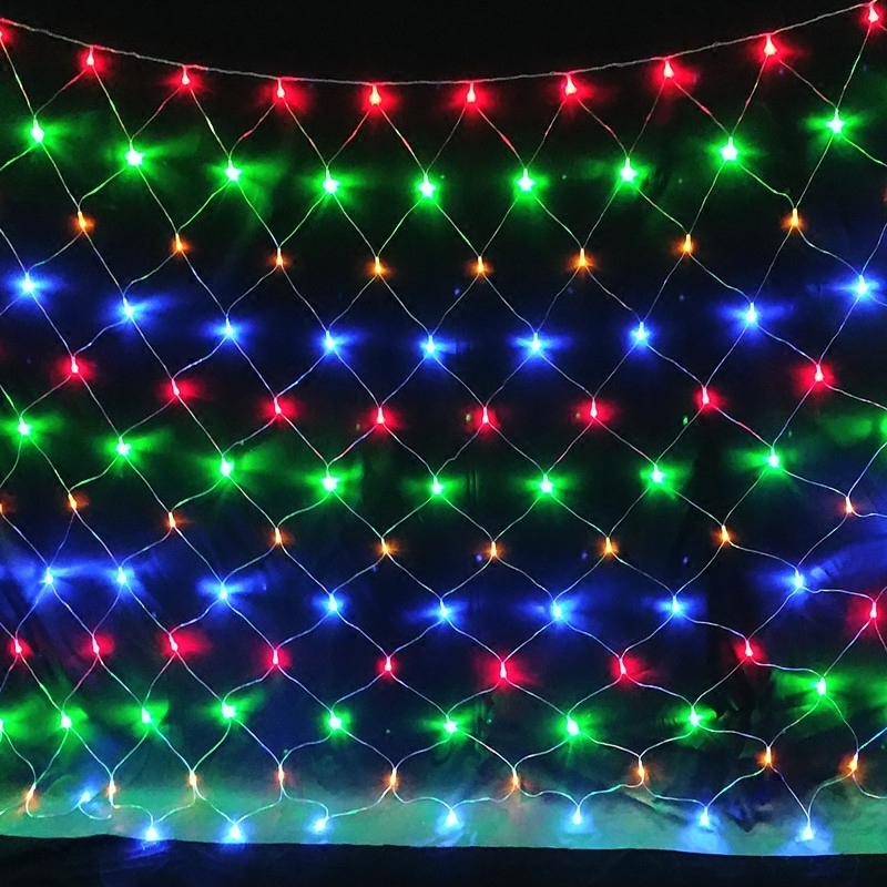BEIAIDI 2X2M 3X2M LED Mesh Net Fairy String Light Outdoor Garden Christmas Fishing Net Fairy Light Tree-Wrap Holiday Garland
