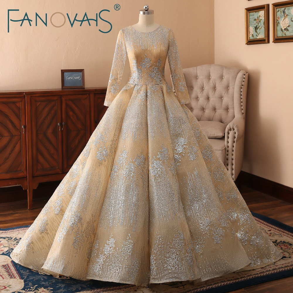 45fa9f17e Gold Wedding Dresses Long Sleeves Ball Gowns Vestido de Novia ...
