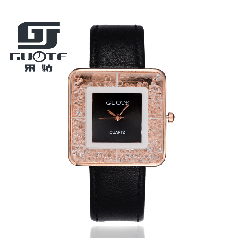 GUOTE New Fashion Brand Rectangle Crystal Rolling Beads Casual Quartz Watch Women Leather Strap Dress Watches Relogio Feminino 2016 new brand fashion retro style men dress quartz leather rivets bracelet watches women crystal casual relogio feminino watch