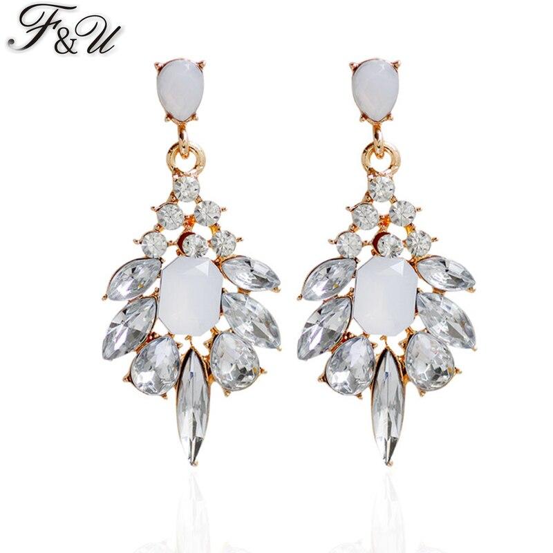 F & U Farklı Renkler ile Reçine Kristal Dangle Küpe Altın Renk - Kostüm mücevherat - Fotoğraf 1