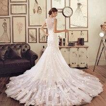 New Europe Sexy Elegant Lace Mermaid Wedding Dress 2016 Long Train Plus Size Vintage Bandage Princess Bridal Wedding Dresses