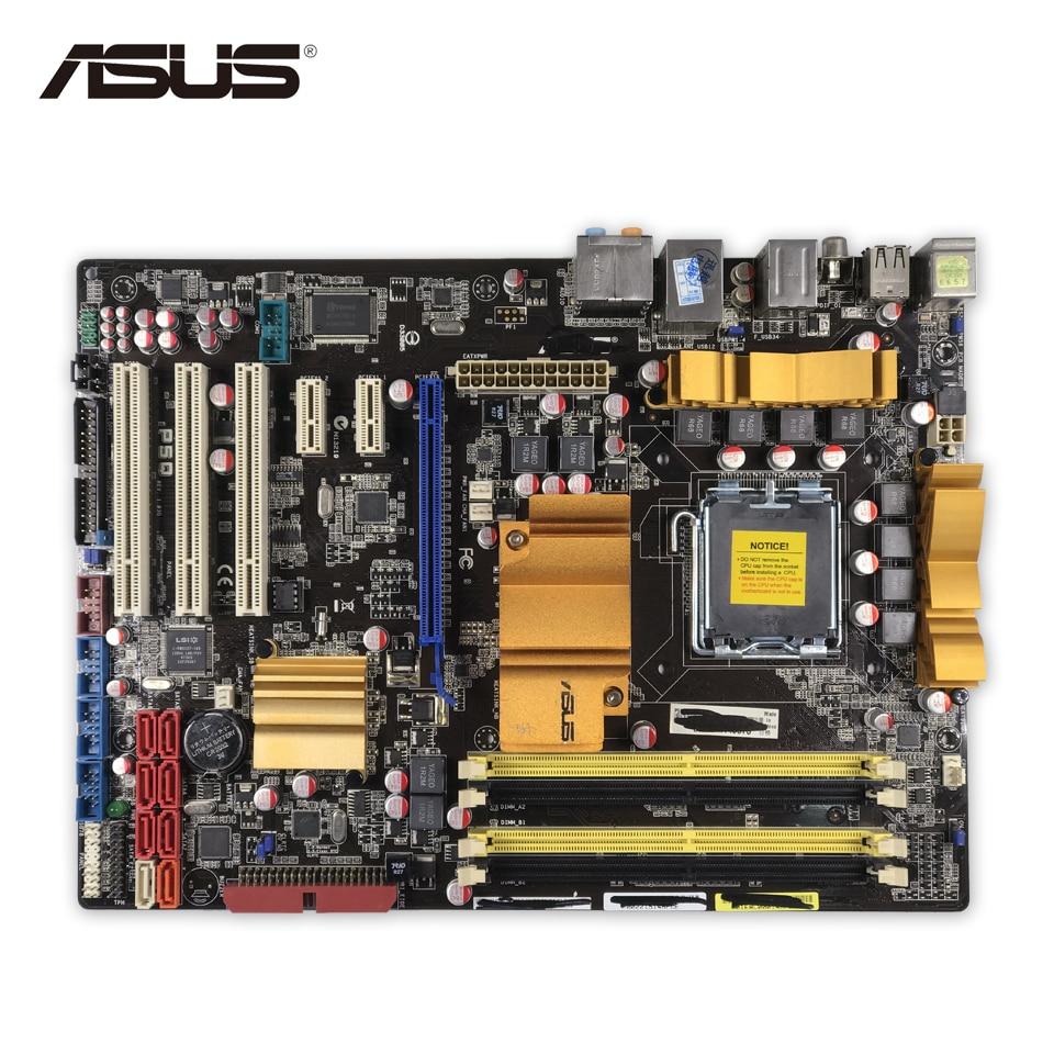 Asus P5Q Original Used Desktop Motherboard P45 Socket LGA 775 DDR2 16G SATA2 USB2.0 ATX asus p5kpl epu original used desktop motherboard p5kpl g31 socket lga 775 ddr2 atx on sale