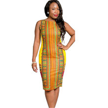 Robe Ete Femme 2016 Ladies Sexy Ethnic Print Boho Tshirt Dress Women Sleeveless Knee Length Bodycon Dashiki Dresses Plus Size