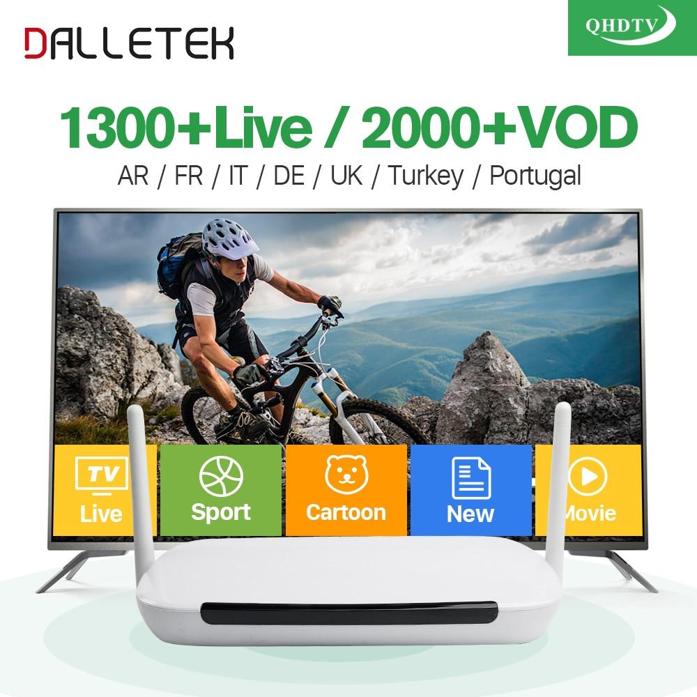 IPTV Arabic Dalletektv Android IP TV Box TV Receiver VOD 2000 Movie Arabic IPTV Europe French IPTV Box 1 Year QHDTV Subscription