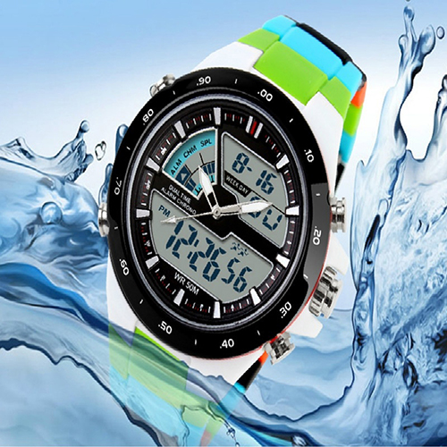 Men Waterproof Sport Digital Analog Dual Time Alarm Date Chronograph Wrist Watch