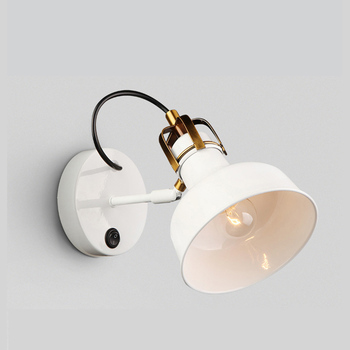 American Country Style Loft Industrial Wind Wall Lamp Simple White Living Room Bedside Lamp Creative The Study Bedroom