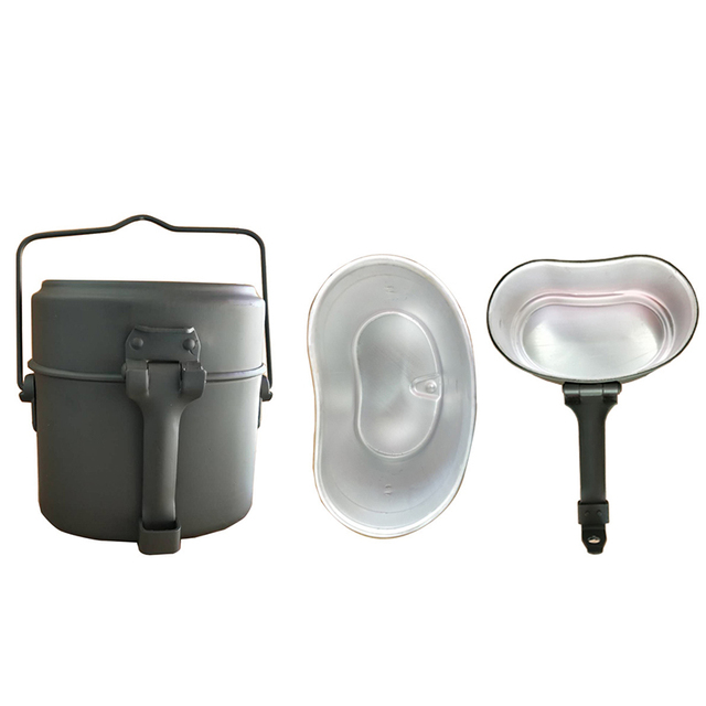 Army Lunch Box 3pcs in 1 Outdoor Camping Travel Tablewares WWII Germany Military Mess Kit Canteen Kettle Pot Food Cup Bowl 6