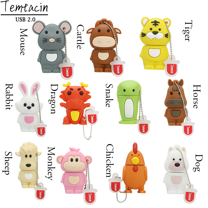 12 Symbolic Animaux Chien Singe Clé USB Clé USB Clé USB Memory Stick Lapin Gris 2GB 4GB PenDrive 8GB 16G Cartoon U Disque