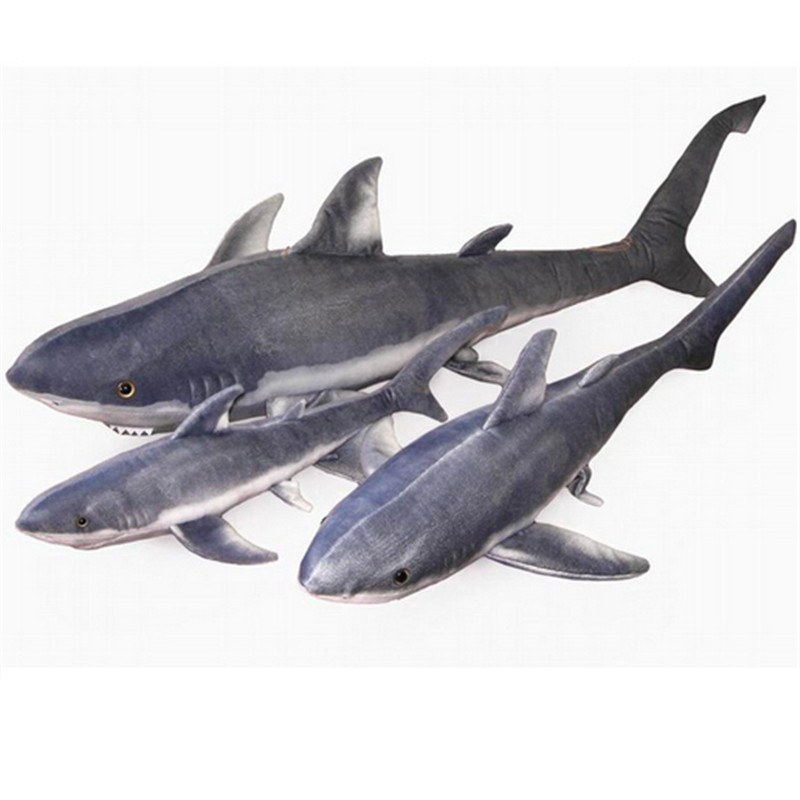 Fancytrader émulational Animal en peluche requin jouet réaliste géant en peluche grand blanc requin poupée oreiller meilleur anniversaire cadeau de noël