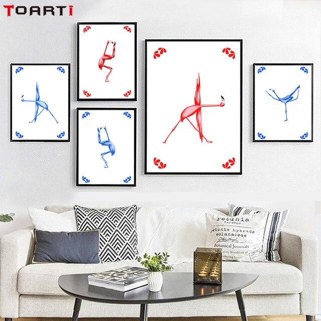 Flamingo Posizione di Yoga Tela Pittura Stampe D\'arte E Poster Per ...