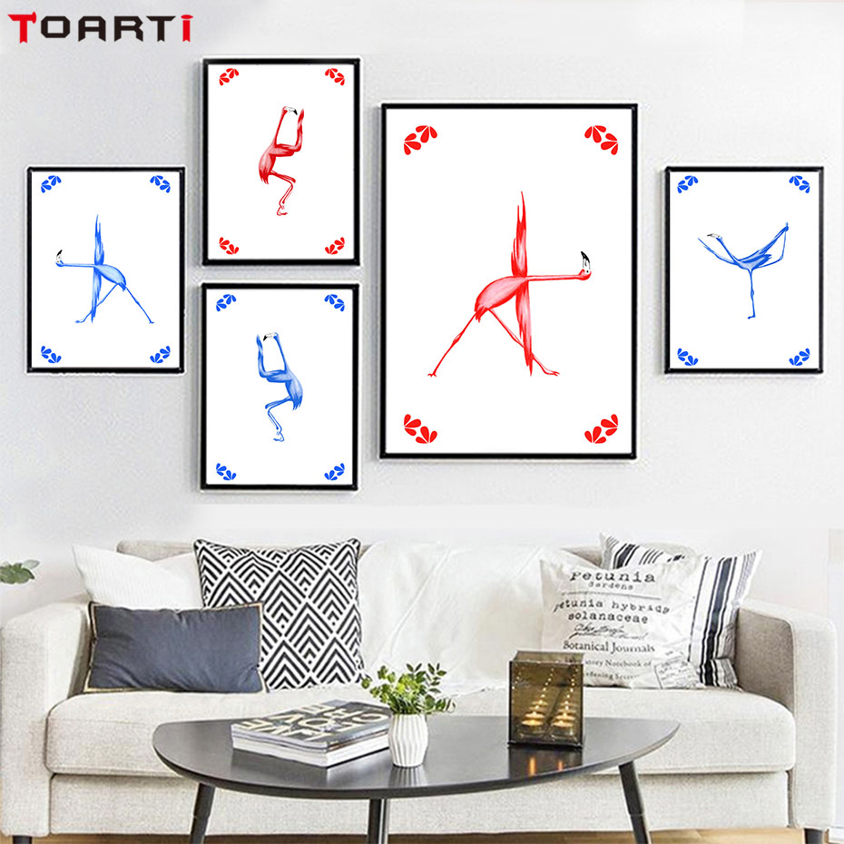 Flamingo Yoga Position Canvas Painting Art Prints And