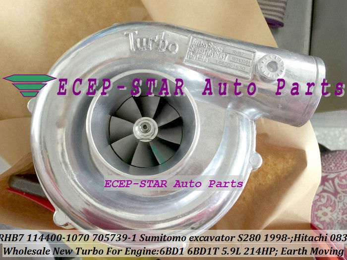 RHB7 114400-1070 705739-5001S Turbo Turbocharger For Sumitomo excavator S280 1998- Earth Moving 6BD1 6BD1T 5.9L 214HP (4)